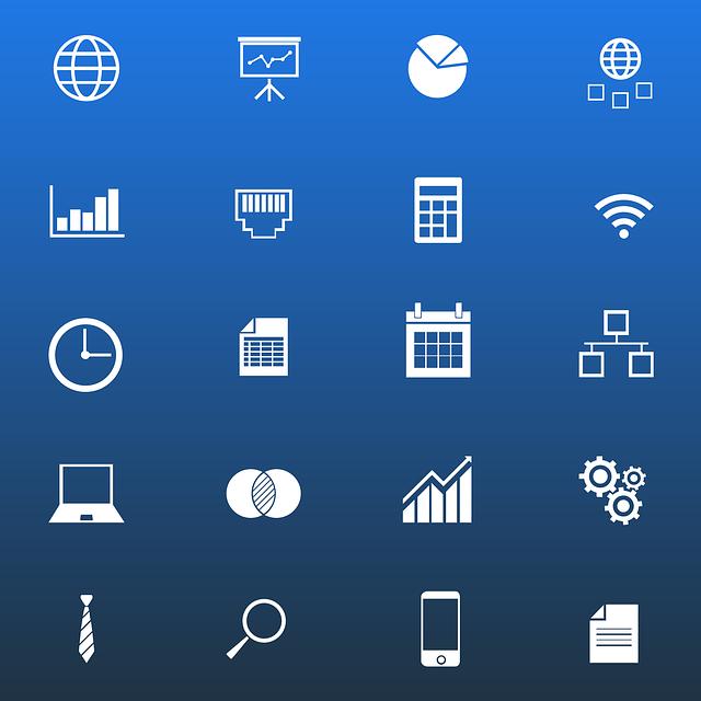 ikony nejrůznějších funkcí na internetu